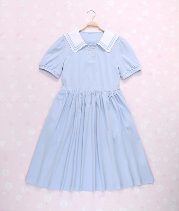 42d88b5fac8a8 SALE ! AMO Sailor Collar Cotton College Dress Free shipping ...