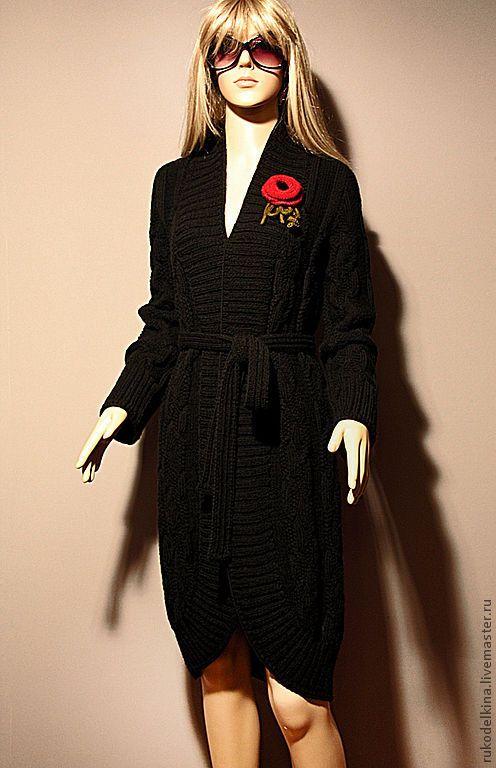 """Купить Кардиган-пальто """"Классический роман"""" - длинный кардиган, черный кардиган, пальто, черное пальто"""