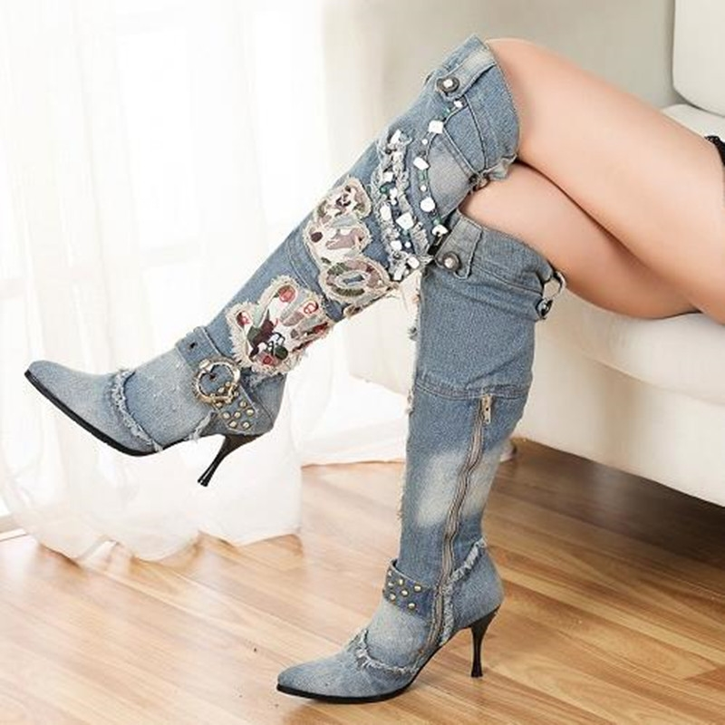 89.90$  Watch here - http://alid3l.worldwells.pw/go.php?t=32729713284 - autumn winter fashion blue denim heels Knee-length women boots Sexy Bead Gaotong fine with the women's boots boty bottes femmes