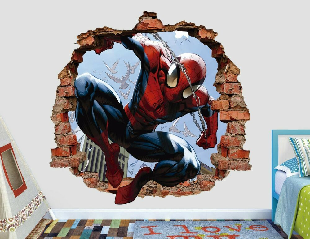 3D Spider Man Smashed PVC Wall Sticker Kids Bedroom Home Decor Mural Decals Art