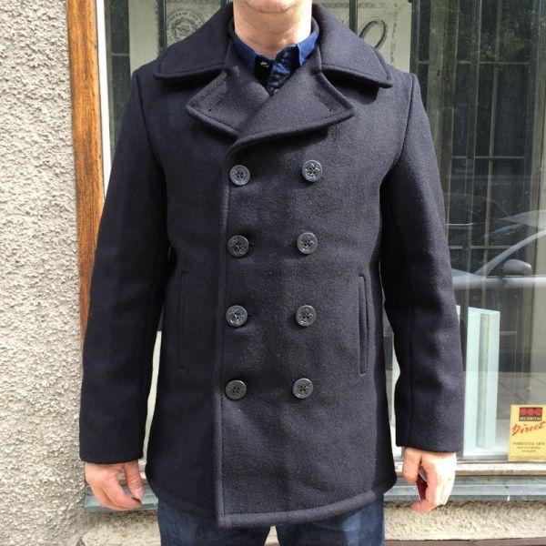 Schott Classic 32 Oz. Melton Wool Navy Pea Coat in the group Men ...