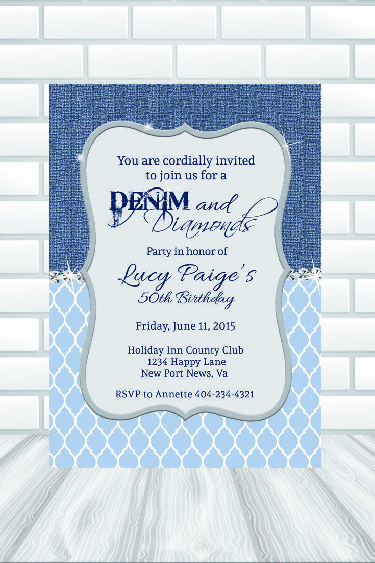 """This invitation background can be used for any """"Denim themed"""