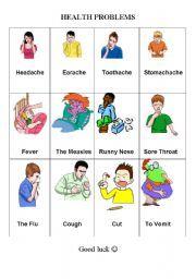 English worksheet: Health Problems, illness, sickness ...