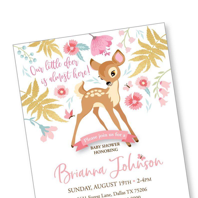 Bebe Cerf Shower Invitation Imprimable Sur Mesure Les Fichiers