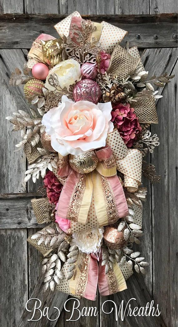 Shabby chic christmas swag winter wreath winter swag white like pinterest navidad - Navidad shabby chic ...