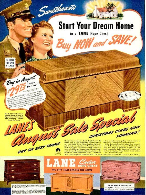 De 1942 Lane esperanza pecho imprimir cartel publicidad dote   Lane ...