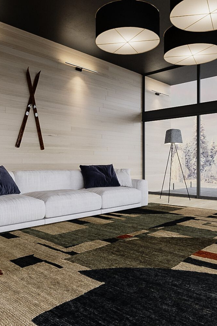 Contemporary Black And White Living Area Design In 2020 Contemporary Rugs Design Luxury Area Rugs Contemporary Rugs