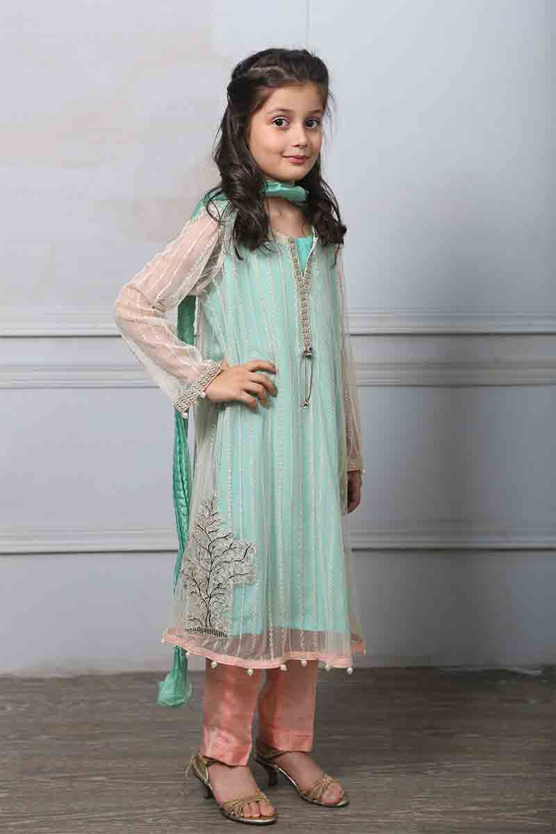 New light blue long frock with dupatta and pajama for ...