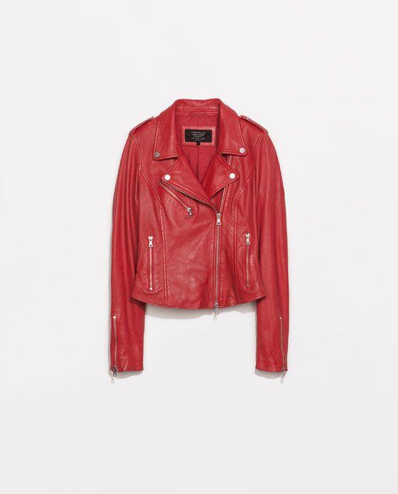 Veste en cuir rouge femme zara