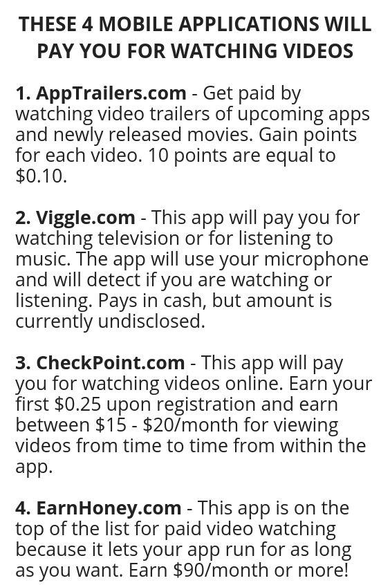 These 4 Mobile Applications Will Pay You For Watching Videos How To Get Money Money Making Hacks Legit Work From Home