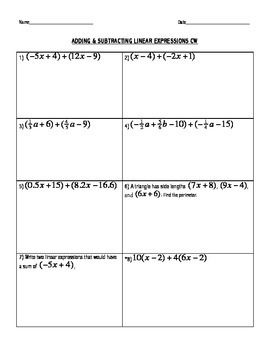 Adding and Subtracting Linear Expressions: Integer/Fraction ...