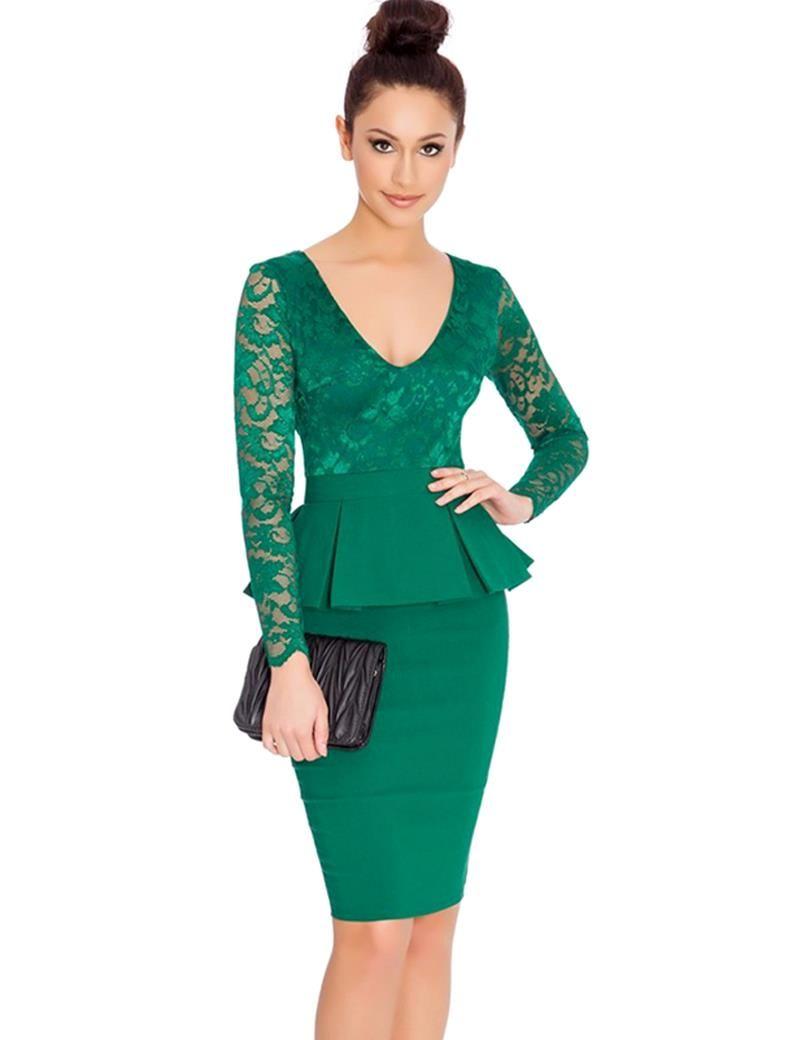 eff36b10e4d6 NEM065 Long sleeve peplum dress Deep V neck sexy lace dress plus size  elegant wear to work bodycon dress hot Women midi dress