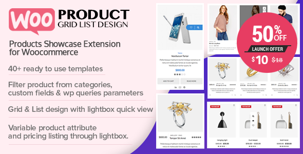 WOO Product GridList Design Responsive Products Showcase