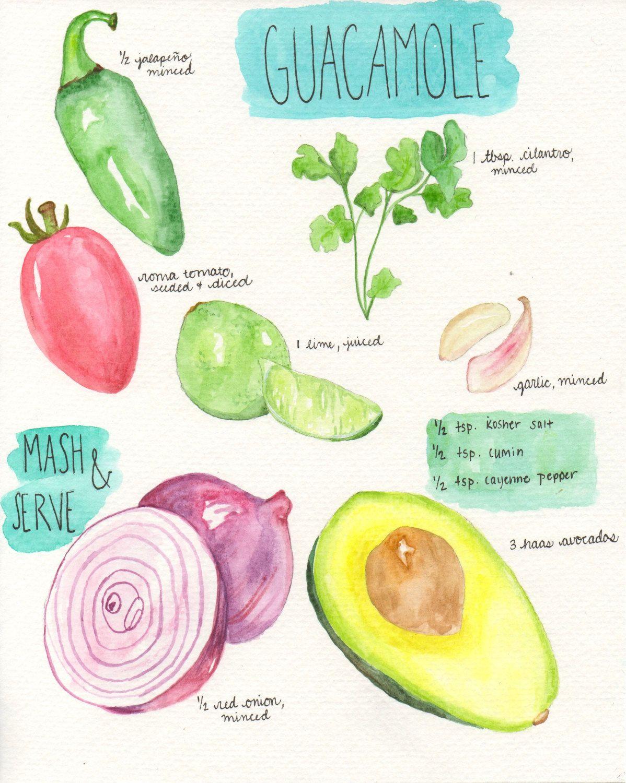 Guacamole Print - Watercolor Avocado Print - Avocado Wall Print ...
