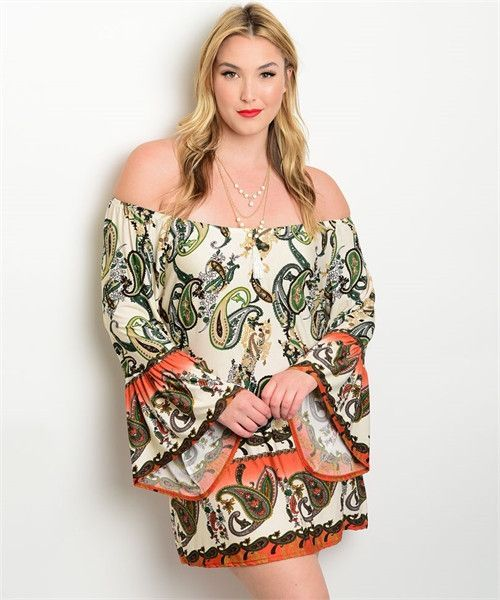 Tan Olive Rust Off The Shoulder Plus Size Dress Rust Shoulder And