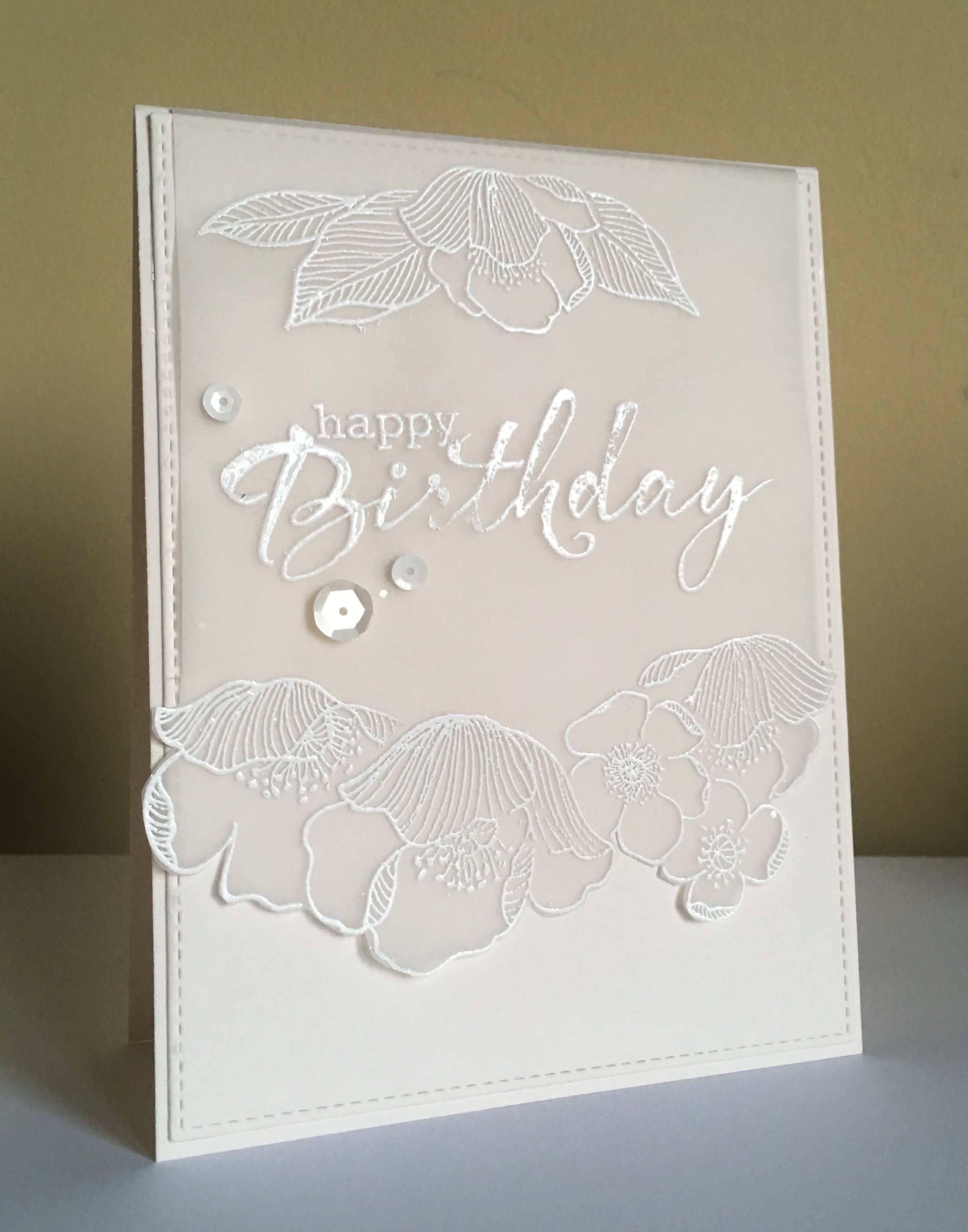 Card Making Ideas Using Vellum Part - 33: Handmade Birthday Card Using Altenew Adore You Flowers . White Embossed On  Vellum . Greeting From Clearly Besotted .