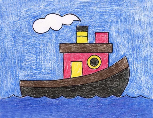 Draw A Tugboat With Images Art Drawings For Kids Kids Art