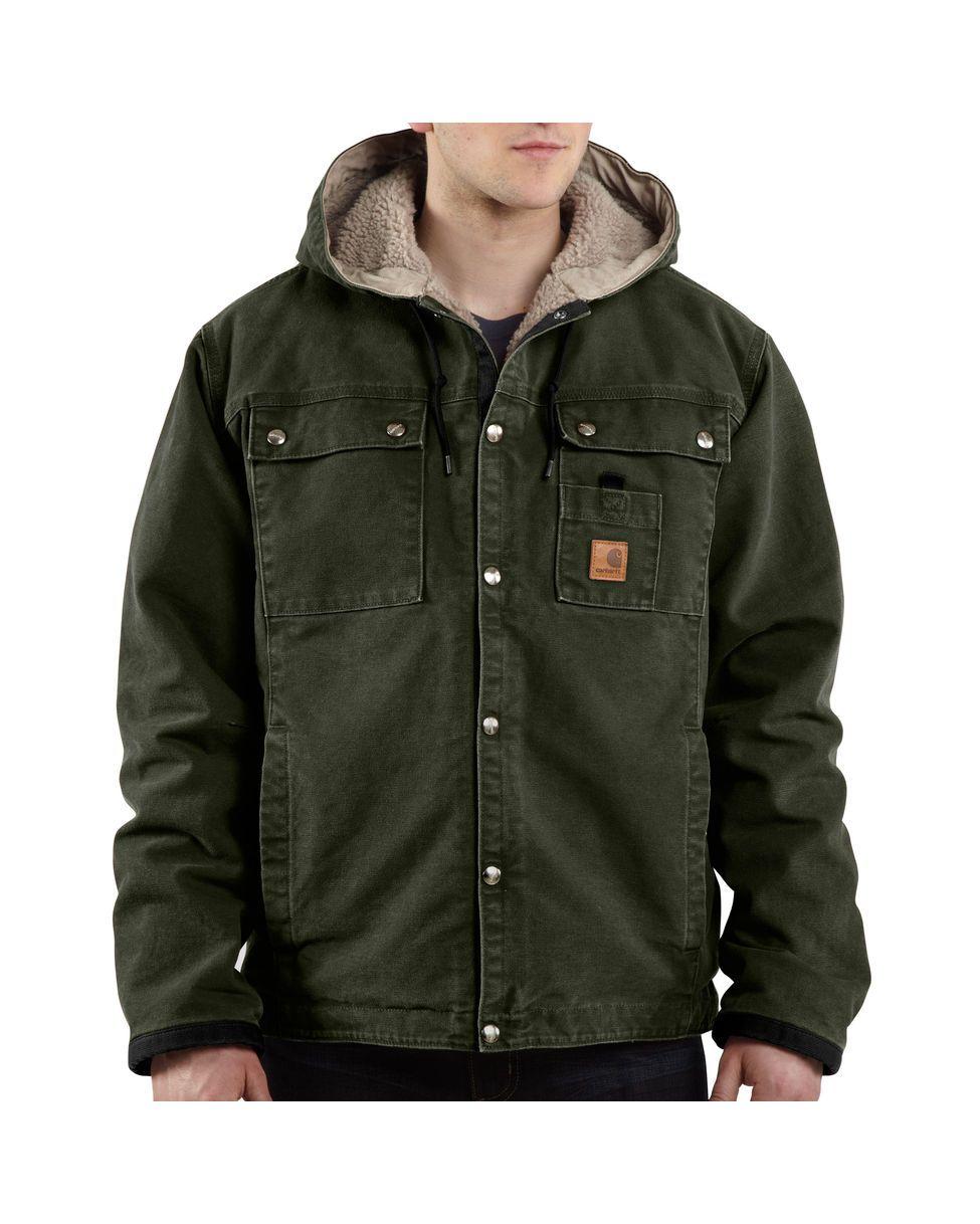 796c6a669b2 Carhartt Men s Sandstone Hooded Multi-Pocket Jacket - Sherpa Lined ...