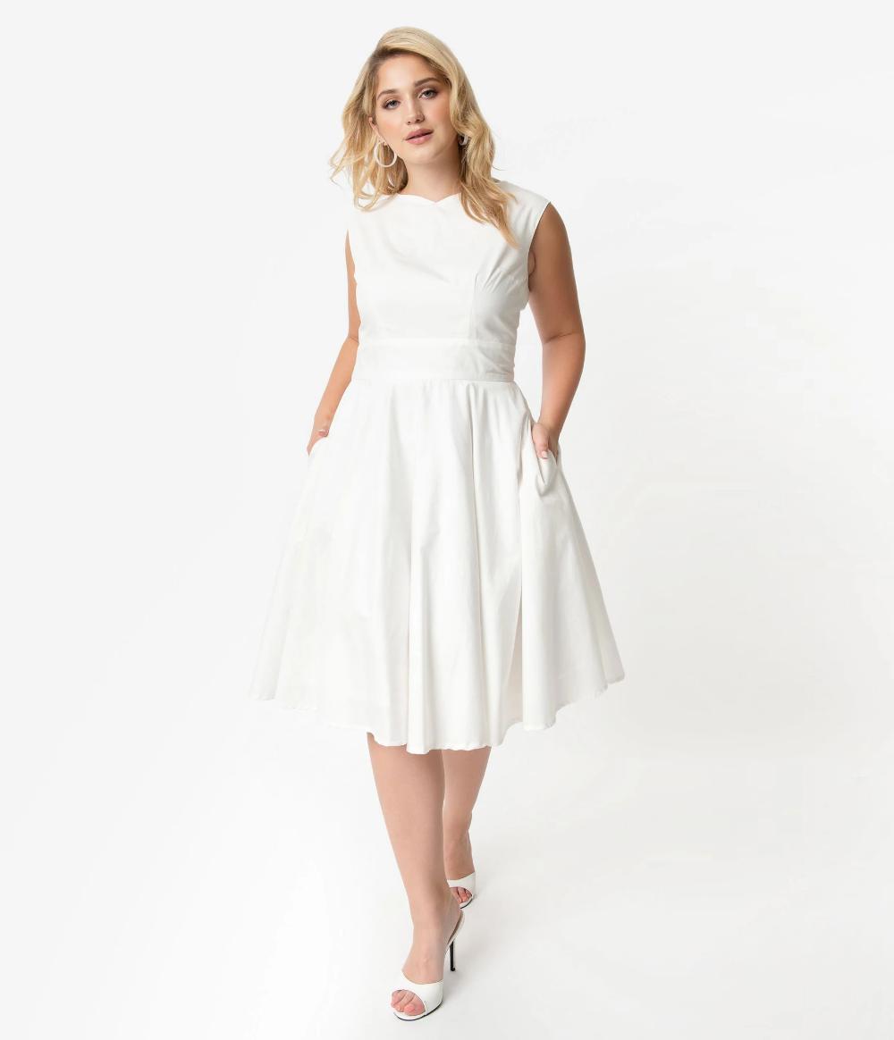 Plus Size Vintage Style Ivory Sleeveless Jenny Swing Dress Unique Vintage Swing Dress White Dresses For Women Plus Size Vintage [ 1164 x 1000 Pixel ]