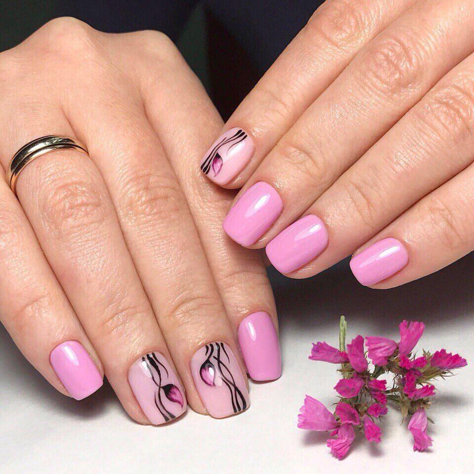 Маникюр на короткие ногти фото дизайн 2017 шеллак розовый