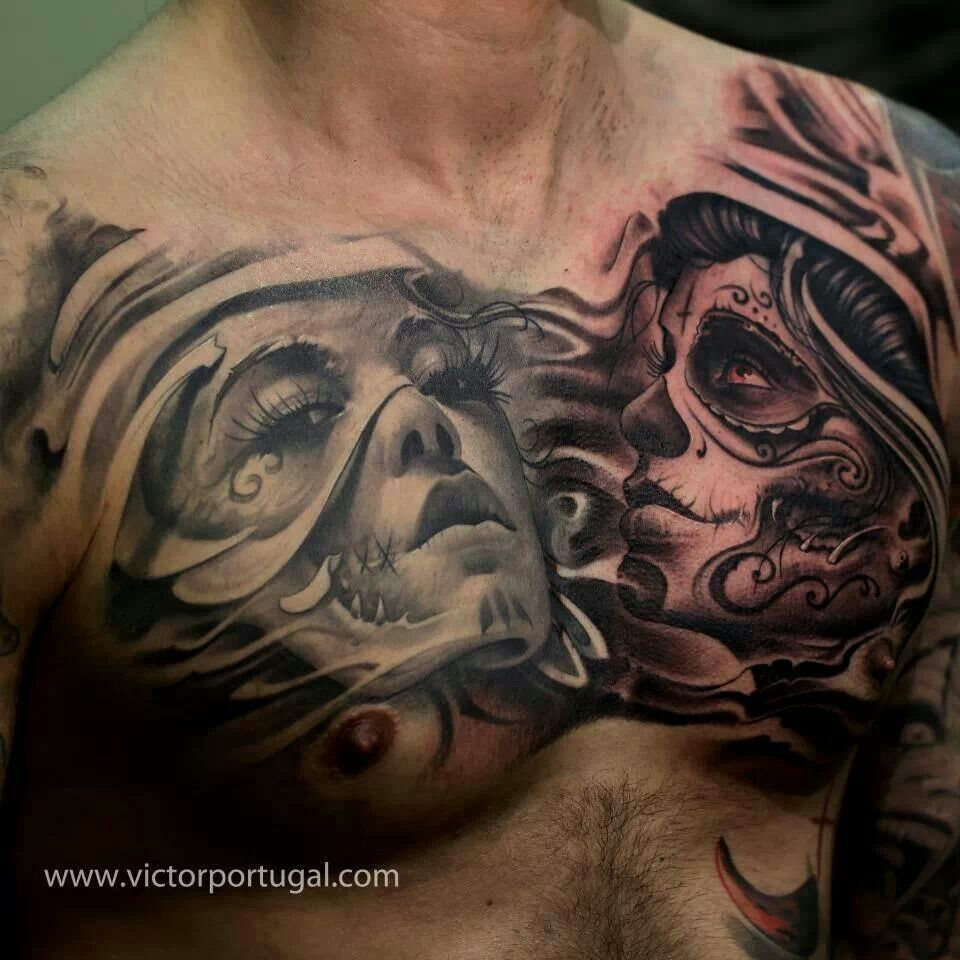 6d09ce450 Day of the dead girls chest piece | Tattoo loves <3 | Tattoo artists ...