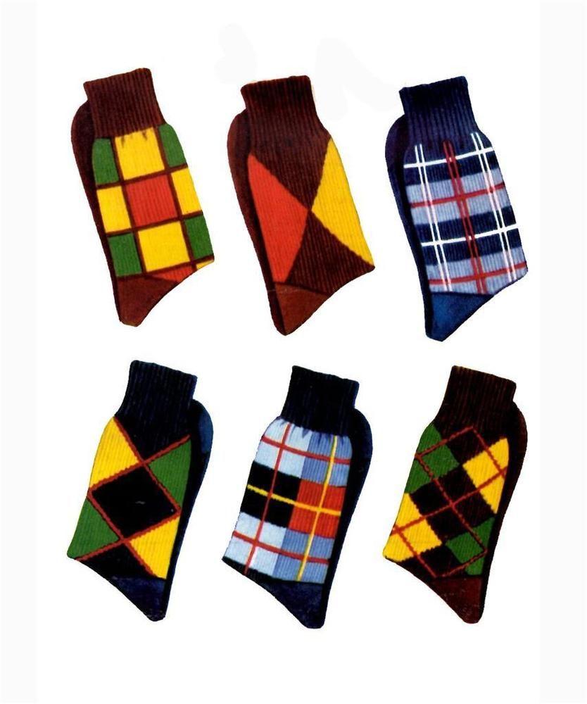 1950s Knitting PATTERN for Men\'s Socks Argyle Plaid Knit O Graf 150 ...