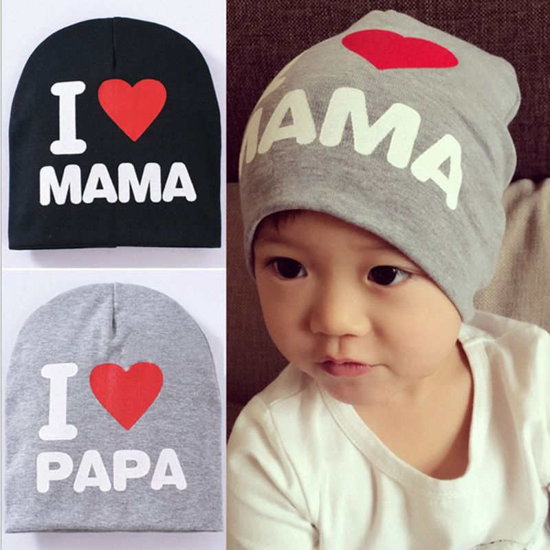 13b0b7c7101 Fashion Kids Baby Infant Love Boy Girl Cute Soft Warm Hat Cap Cotton Beanie  I Love Papa Mama Print Kid Hats