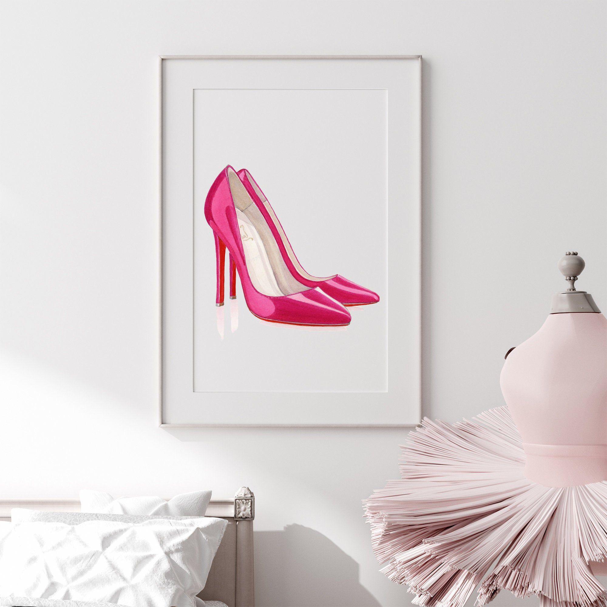 Fashion Wall Art Fashion Illustartion Hot Pink Wall Art Etsy In 2021 Girly Wall Art Hot Pink Wall Art Feminine Wall Art
