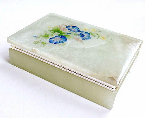 Hinged Alabaster Box Italian Alabaster Floral Box Morning Glory