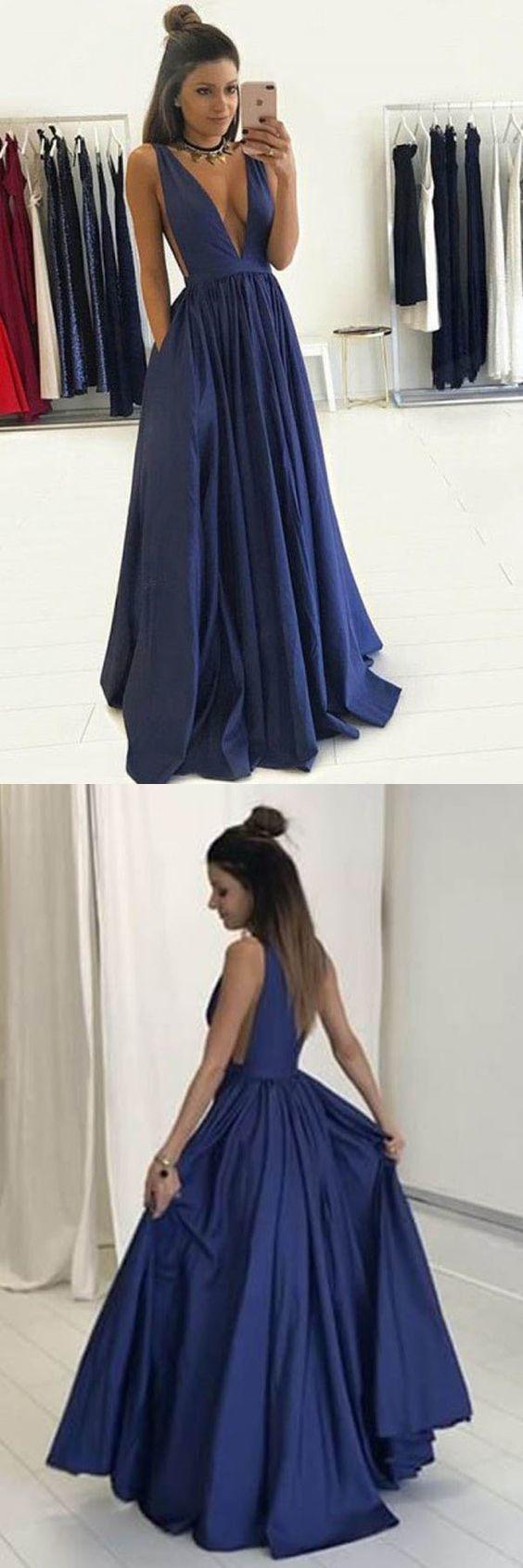 Deep vneck floorlength royal blue taffeta prom dress with pockets