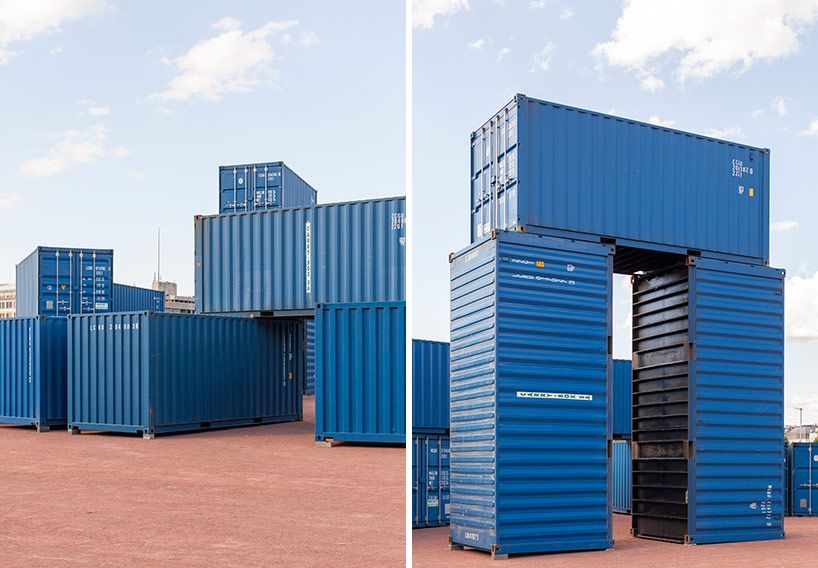 Bureau a models big shipping container art space after stonehenge