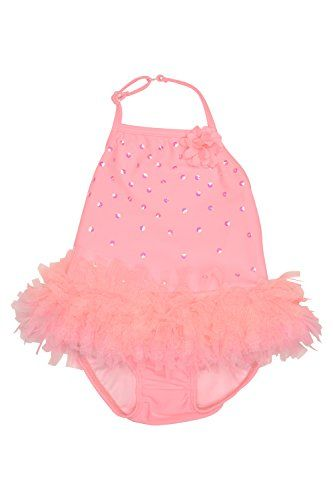 Kate Mack Girl's Infant-6X Paradise Palms 1pc Swimsuit. Every little girl loves pink, and this wonderful halter style tank swimsuit in a pretty coral shade has a tutu netting skirt that no aspiring ballerina could resist! Sparkling sequins just add to the magic.