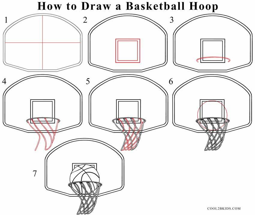 How To Draw A Basketball Hoop Step Drawing Tutorial With Pictures