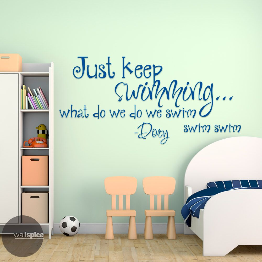 Just Keep Swimming Dory Quote Vinyl Wall Decal Sticker Finding Nemo Disney  Pixar By WallSpiceDecals On