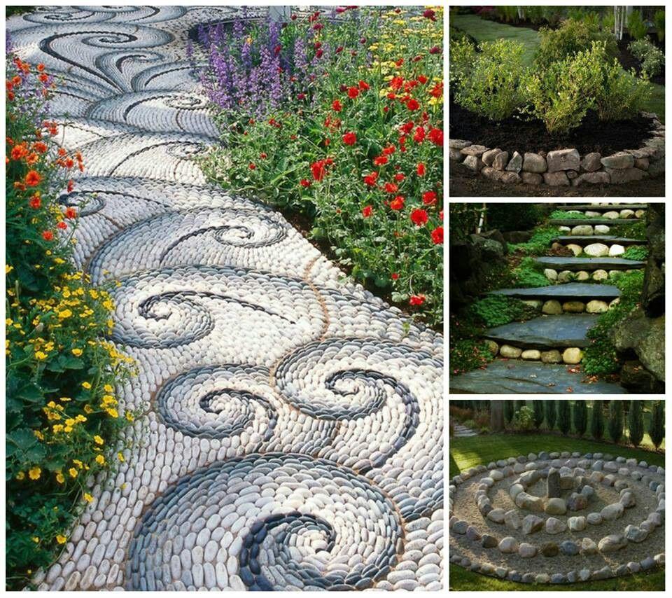 Camino de piedra diy decoraci n paletas reciclable ideas for Decoracion de piedras para jardin
