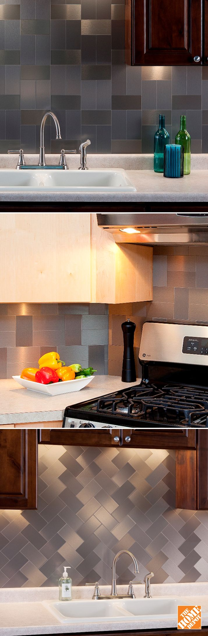 Stainless Steel Backsplash Tile Is A Simple And Stylish