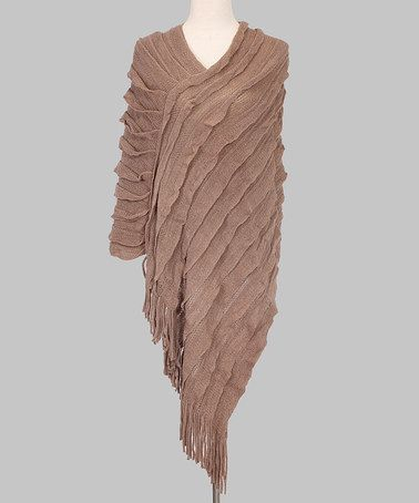 Look at this #zulilyfind! Khaki Textured Asymmetrical Poncho - Women by Top Fashionland #zulilyfinds