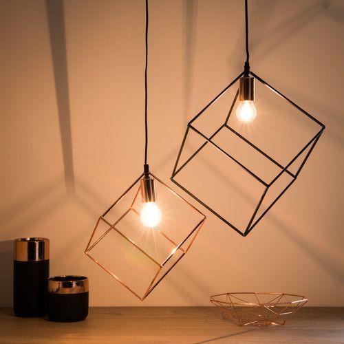 suspension cube en m tal cuivr inspirations deco suspension metal m tal noir et m tal. Black Bedroom Furniture Sets. Home Design Ideas