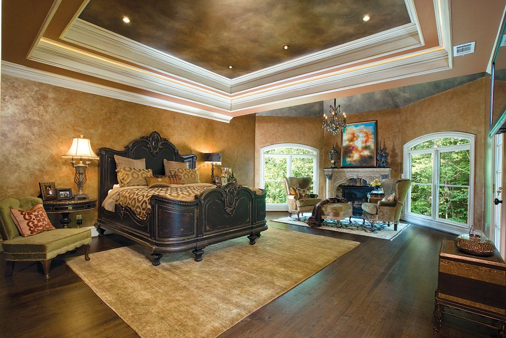 Beautiful master bedroom with Trey ceiling and fireplace