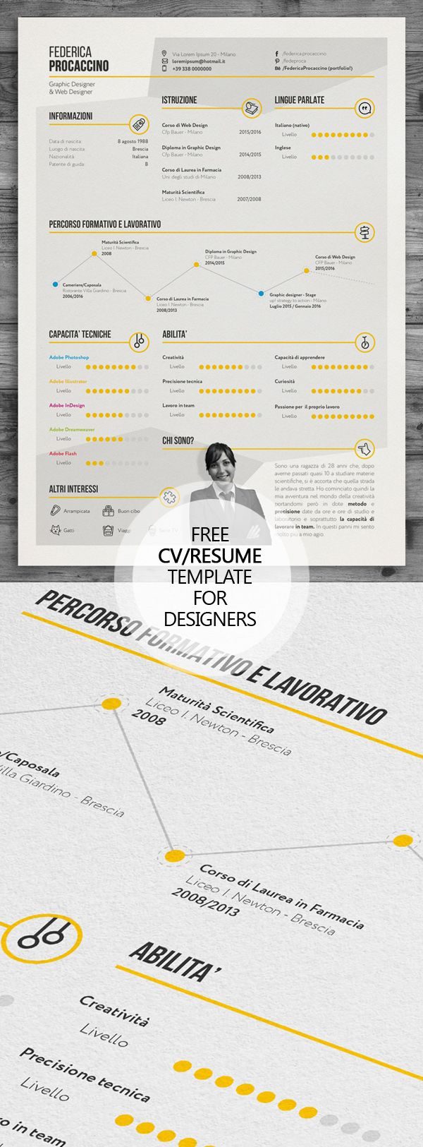 Free Creative Freelancer Designer Resume Template PSD