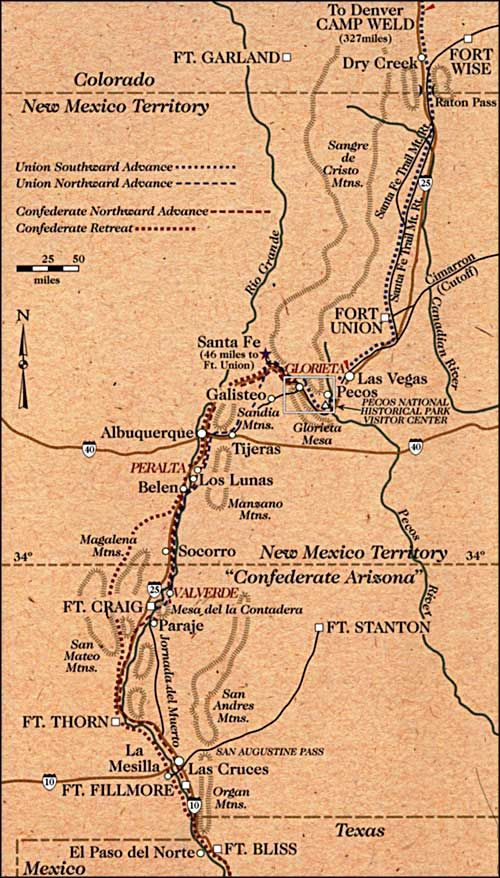 Map Showing The Locations Of Civil War Skirmishes In New Mexico - Us-map-civil-war-era