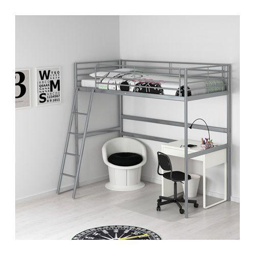 ikea sv rta loft bed frame 90x200cm silver colour kids. Black Bedroom Furniture Sets. Home Design Ideas
