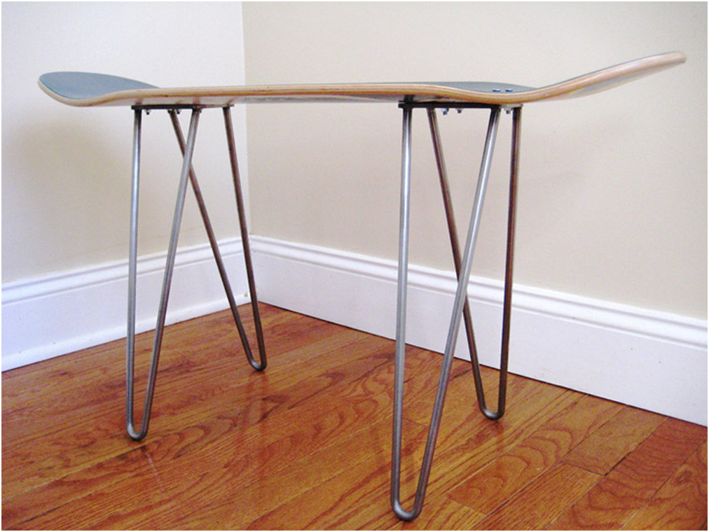 design find skateboard table mounted on hairpin legs