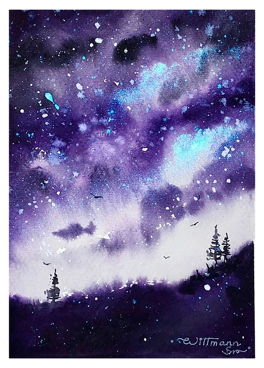 Purple Galaxy Night Monochromatic Landscape With Shimmer Color Trees And The Night Sky Original Watercolour Painting Impressionistic Style Handmade Paper 5 5 7 5 In 14x19 Cm In 2020 Landscape Watercolor Canvas Watercolor