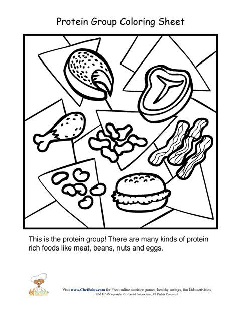 Protein Food Group Coloring Sheet Group Meals Protein Foods Food Groups For Kids