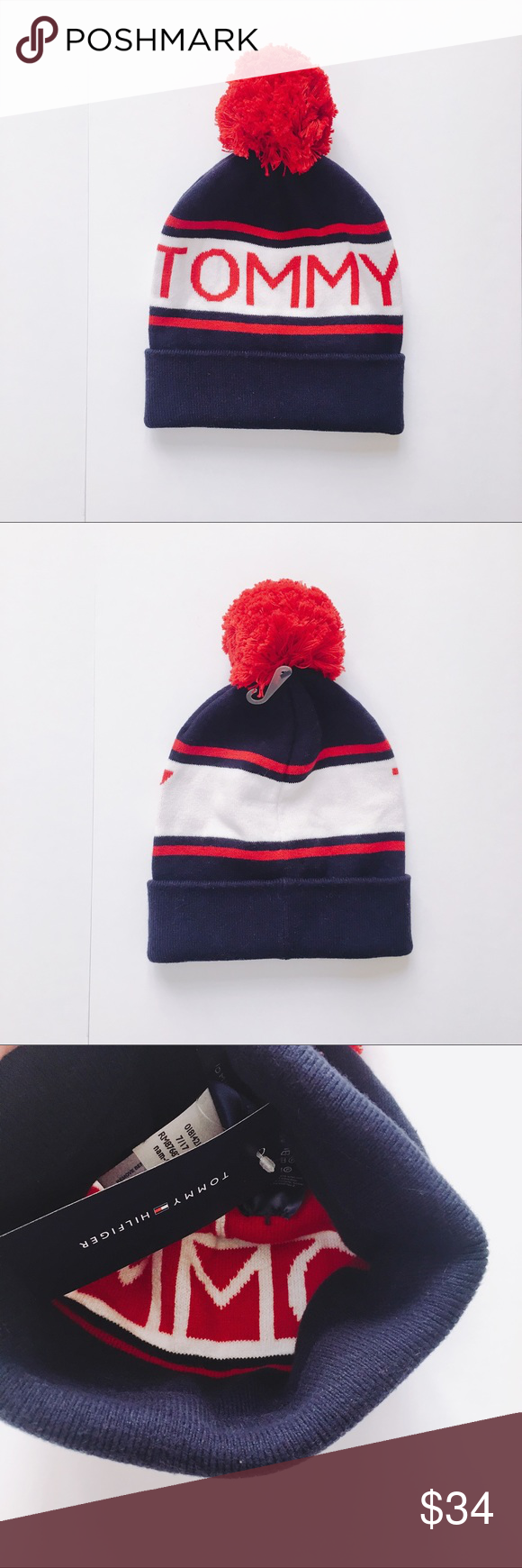 595131d39 Tommy Hilfiger logo pom pom knitted beanie hat Brand new with tag ...
