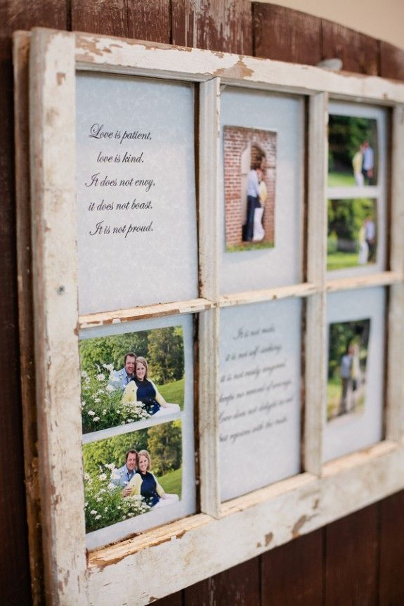 Use an old window frame to share special memories with your guests ...