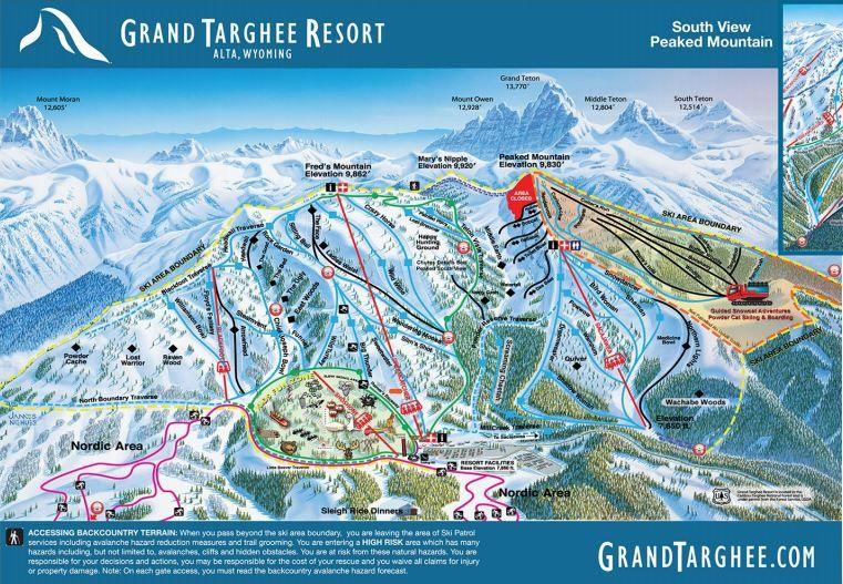 wyoming ski resorts map Grand Targhee Resort Winter Ski Trail Map Grand Targhee Resort wyoming ski resorts map