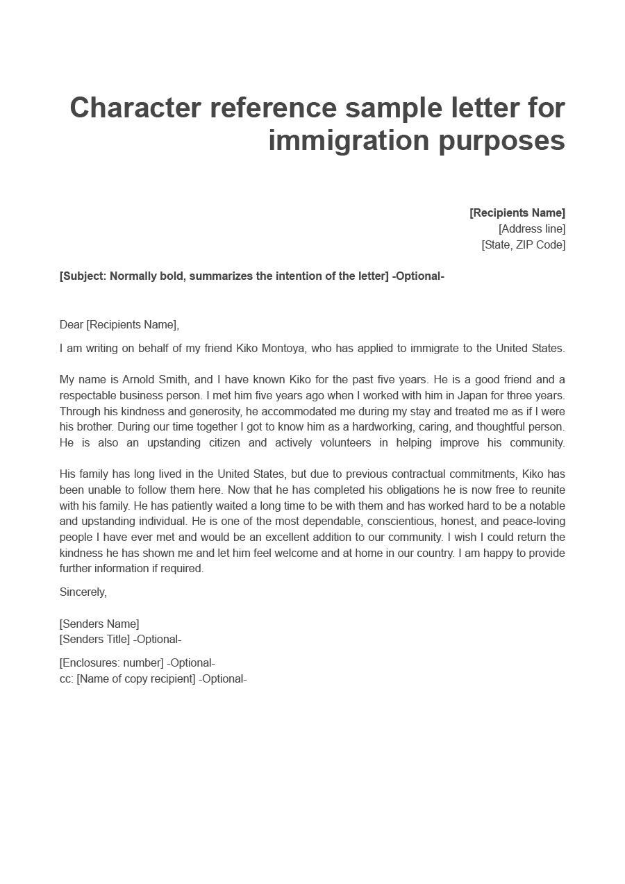 Letter To Immigration New 36 Free Immigration Letters Character
