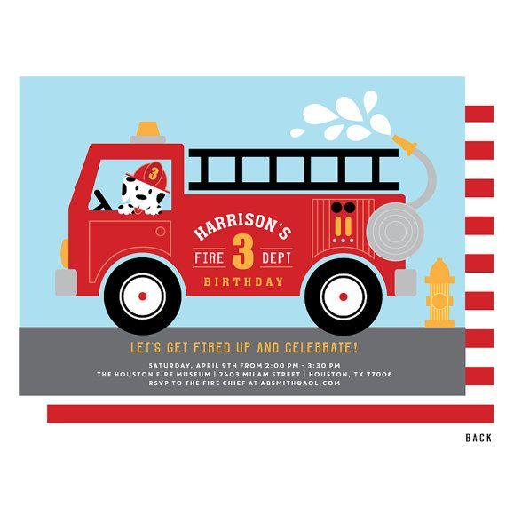 Fire Truck Invitation For A Little Firefighter Birthday Party A